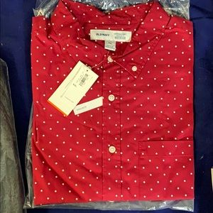 Old Navy Everyday Shirt Regular fit XXL Red dots